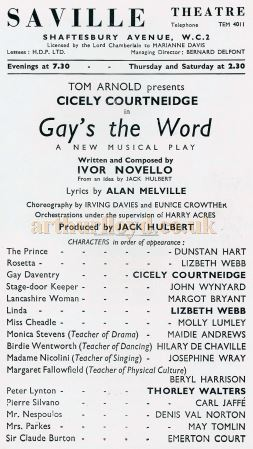 A Programme for Ivor Novello's 'Gay's the Word' at the Saville Theatre in February 1951 - Courtesy Michael Jaffe.
