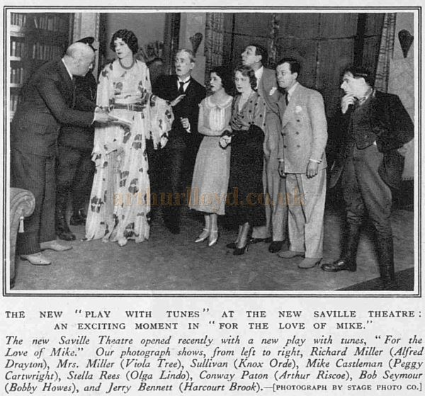 A scene from the opening production of 'For the Love of Mike' at the Saville Theatre - From The Sketch, October 21st 1931.