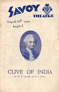Programme for 'Clive Of India' at the Savoy Theatre in 1934.