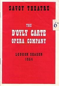 Programme for the 1954 season of the D'Oyly Carte Opera Company at the Savoy Theatre.
