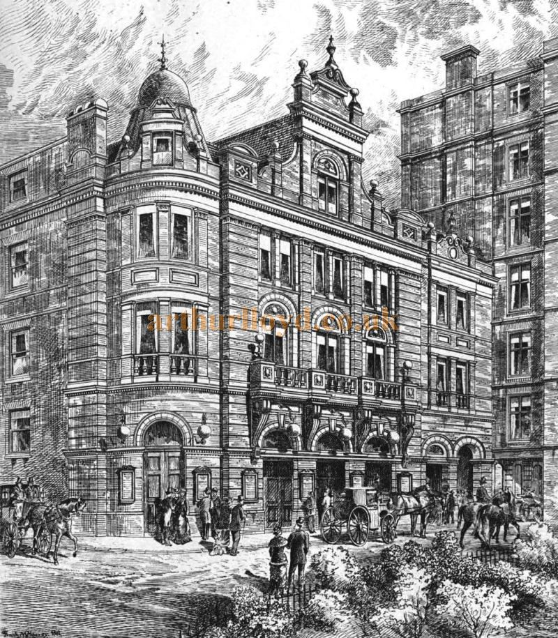 The Beaufort Street Facade and Main Entrance to the Savoy Theatre of 1881 - From the 'Building News and Engineering Journal' of April 1st 1881. This Facade still exists as the rear of the Savoy Theatre today.