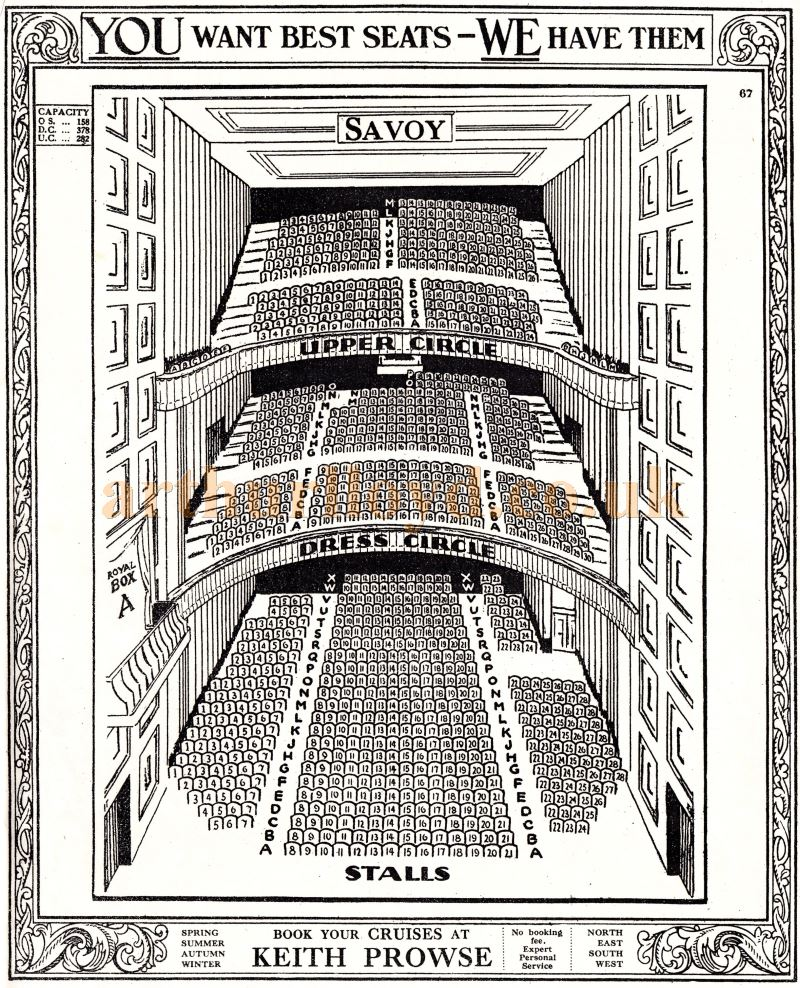 A Seating Plan for the Savoy Theatre's 1929 auditorium before the fire of 1990