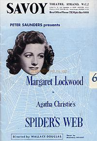 Programme for Agatha Christie's 'Spider's Web' at the Savoy Theatre in 1954.