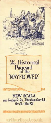 A Programme for 'The Historical Pageant of the Mayflower' at the Scala Theatre in October 1925.
