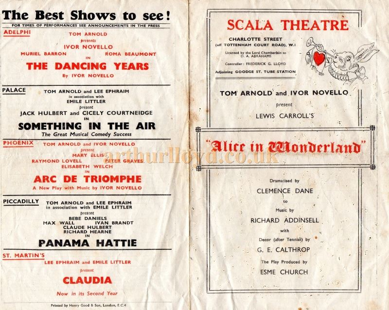 A programme for Tom Arnold and Ivor Novello's Production of Lewis Carroll's 'Alice in Wonderland' at the Scala Theatre in 1943 - Courtesy Paul Cameron.