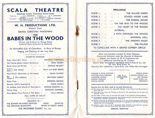 A Programme for a Christmas Pantomime 'Babes in the Wood' at the Scala Theatre