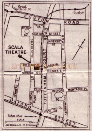 A Map showing the position of the Scala Theatre from a programme for 'The Purple Mask' - Courtesy Roy Cross.