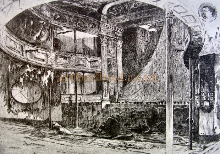 A sketch of the auditorium of the Prince of Wales Theatre, Charlotte Street in 1903 shortly before its demolition - Courtesy Caroline Blomfield. The sketch in the top right corner says 'Squire Bancroft and Marie Effie Bancroft 1865 1880.