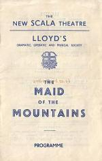 A programme for 'The Maid of the Mountains' at the Scala Theatre in April 1949.