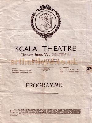 A programme for 'The Purple Mask' at the Scala Theatre - Courtesy Roy Cross.