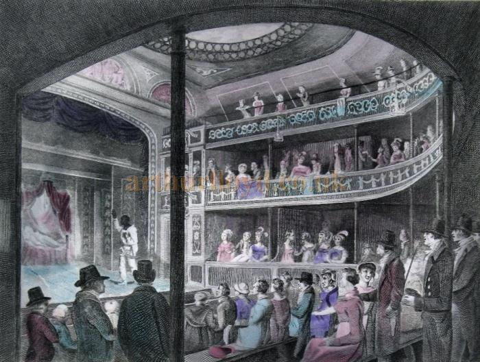 A watercolour of the auditorium of the Regency Theatre, Tottenham Street in 1817 - From a Print dated 1832 - Courtesy Caroline Blomfield