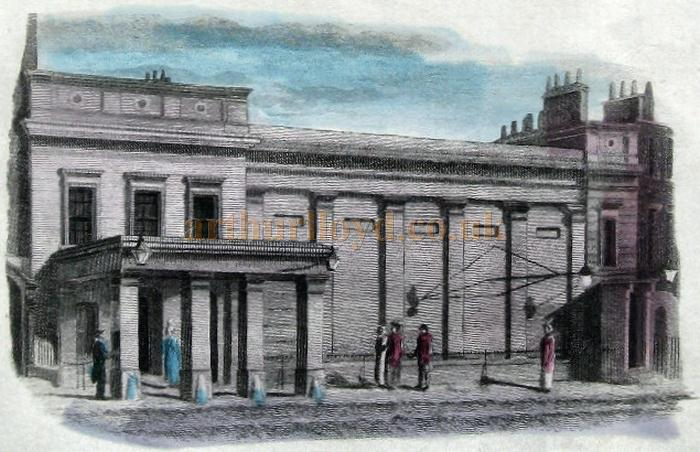 A watercolour of the Regency Theatre, Tottenham Street in 1817, later the Prince of Wales Theatre and part of the site of the later Scala Theatre, Charlotte Street - From a Print dated 1832 - Courtesy Caroline Blomfield
