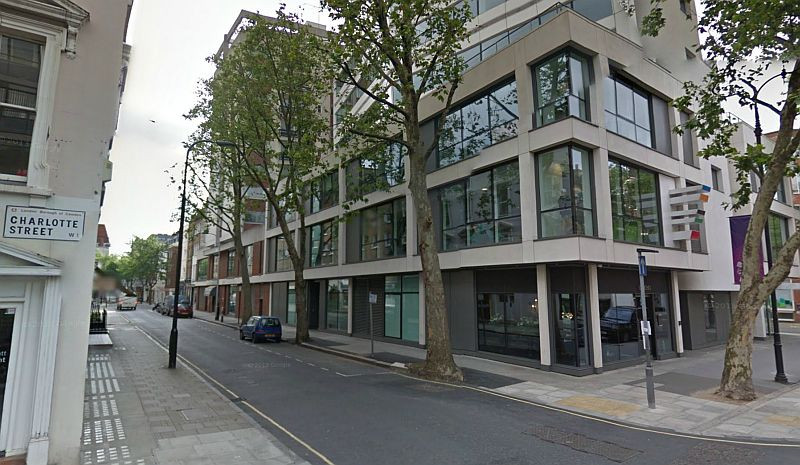 A Google StreetView image of Scala House, Charlotte and Tottenham Streets, which stands on the site of the former Scala Theatre today - Click to Interact