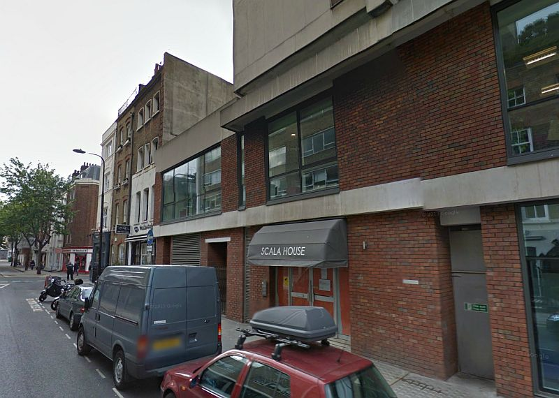A Google StreetView image of Scala House which stands on the site of the former Prince of Wales Theatre and later Scala Theatre today. Note, the buildings adjoining the Theatre in Tottenham Street can be seen in both of the above images. - Click to Interact.