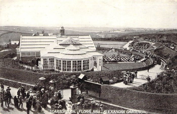 A Postcard depicting the Floral Hall and Alexandra Gardens, Scarborough - Courtesy Adrian Spawforth from his wonderful site 'Postcards of Scarborough.'