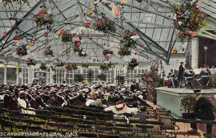A Postcard showing the interior of the Floral Hall, Scarborough - Courtesy Adrian Spawforth from his wonderful site 'Postcards of Scarborough.'