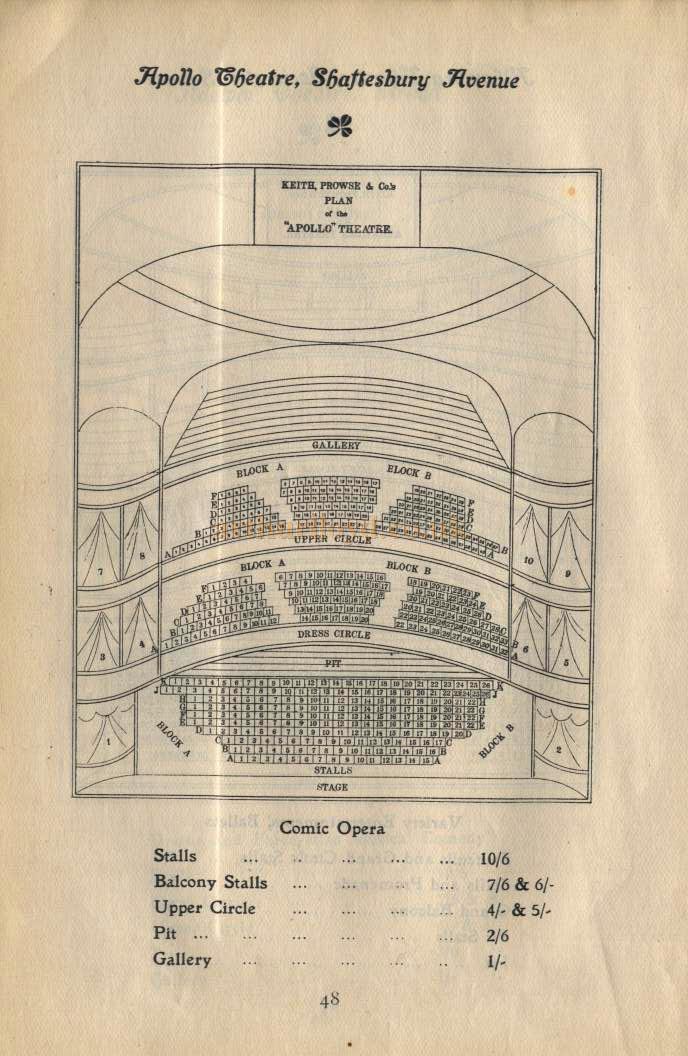 Apollo Theatre Seating Plan - Pre 1907