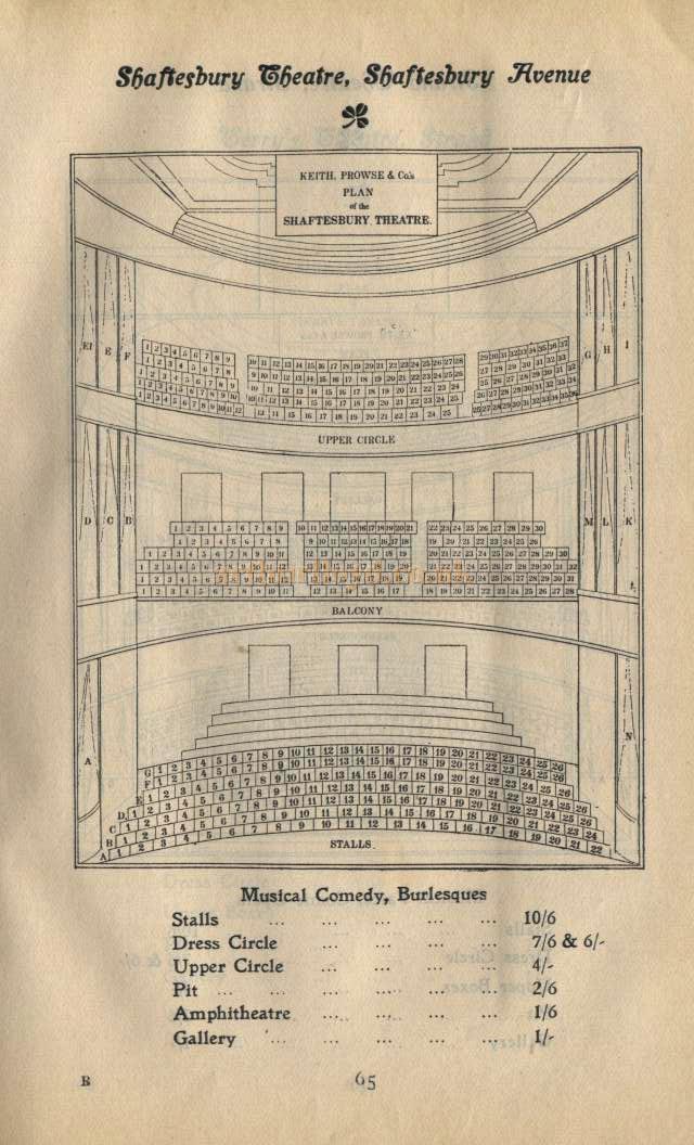 Shaftesbury Theatre Seating Plan - Pre 1907