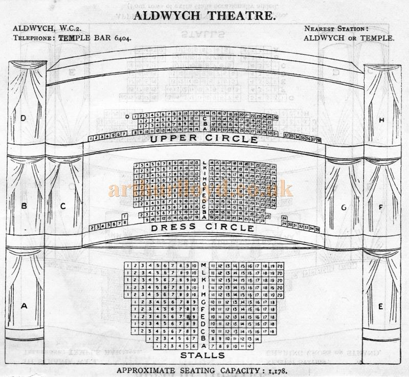 A Seating Plan for the Aldwych Theatre - From 'Who's Who in the Theatre' published in 1930 - Courtesy Martin Clark. Click to see more Seating Plans from this publication.