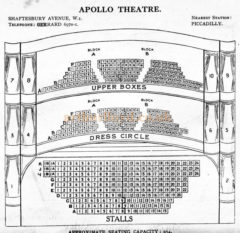 A Seating Plan for the Apollo Theatre - From 'Who's Who in the Theatre' published in 1930 - Courtesy Martin Clark. Click to see more Seating Plans from this publication.