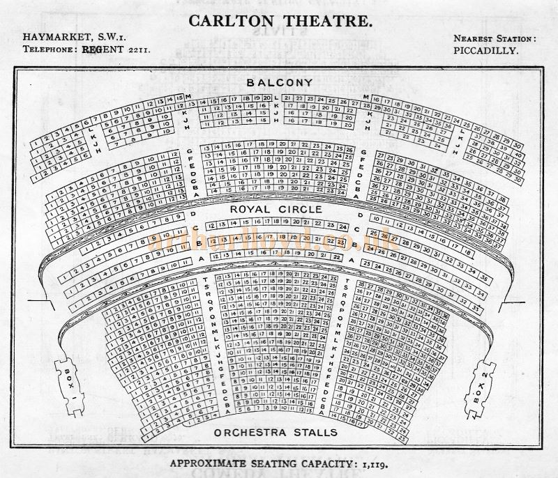 A Seating Plan for the Carlton Theatre, Haymarket - From 'Who's Who in the Theatre' published in 1930 - Courtesy Martin Clark. Click to see more Seating Plans from this publication.