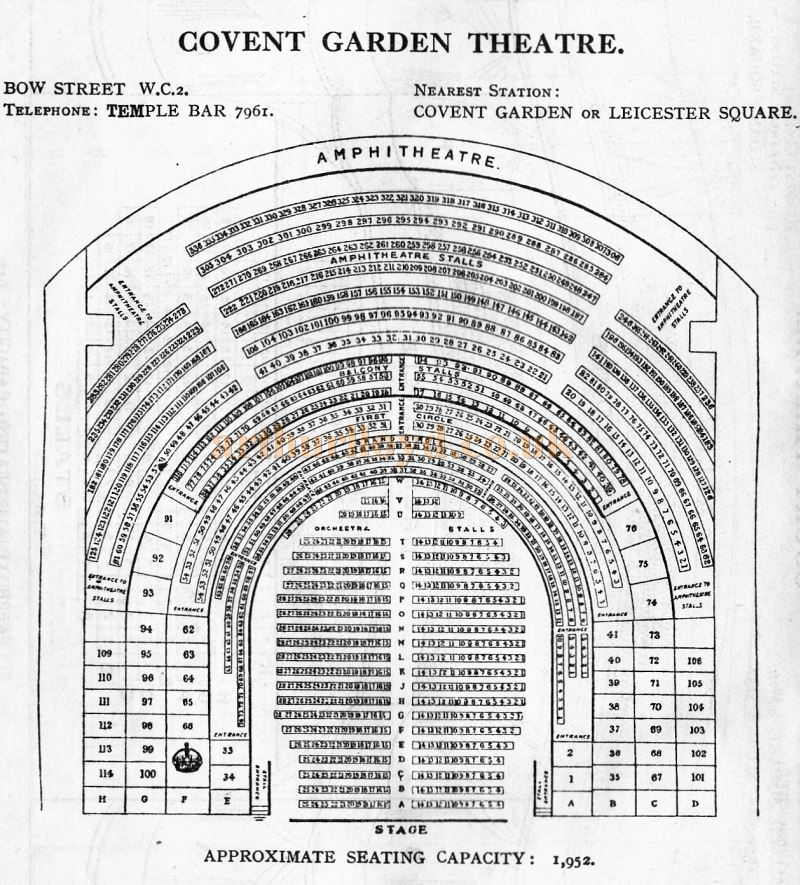 A Seating Plan for the Covent Garden Theatre - From 'Who's Who in the Theatre' published in 1930 - Courtesy Martin Clark. Click to see more Seating Plans from this publication.