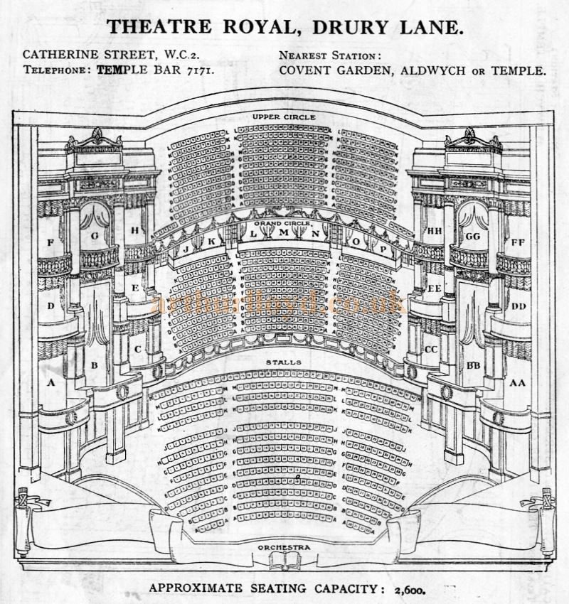 A Seating Plan for the Theatre Royal, Drury Lane - From 'Who's Who in the Theatre' published in 1930 - Courtesy Martin Clark. Click to see more Seating Plans from this publication.
