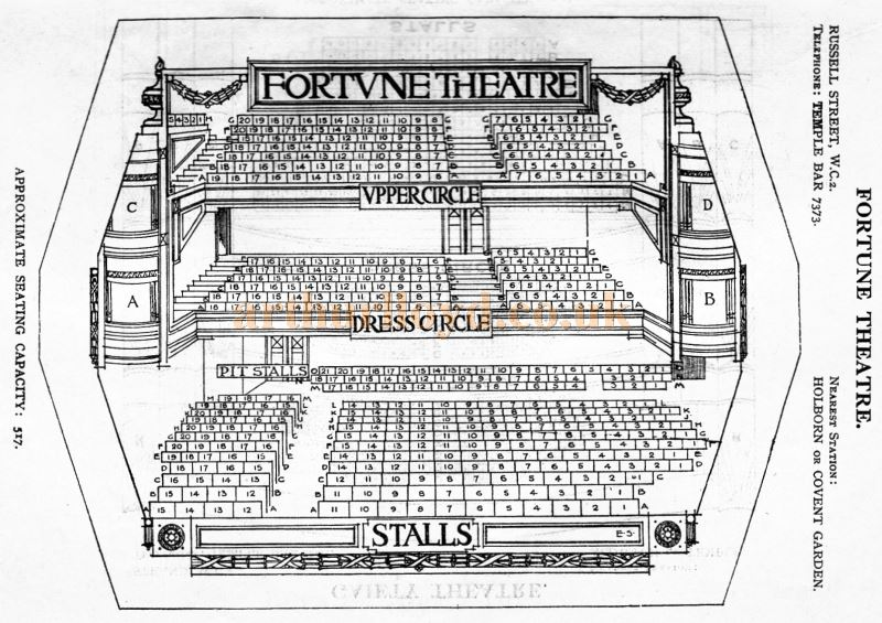 A Seating Plan for the Fortune Theatre - From 'Who's Who in the Theatre' published in 1930 - Courtesy Martin Clark. Click to see more Seating Plans from this publication.