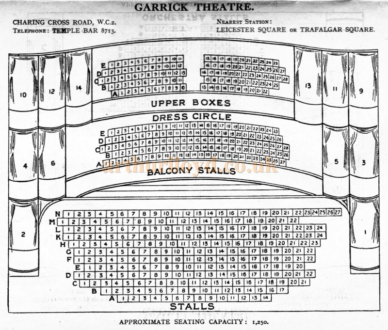 A Seating Plan for the Garrick Theatre - From 'Who's Who in the Theatre' published in 1930 - Courtesy Martin Clark. Click to see more Seating Plans from this publication.