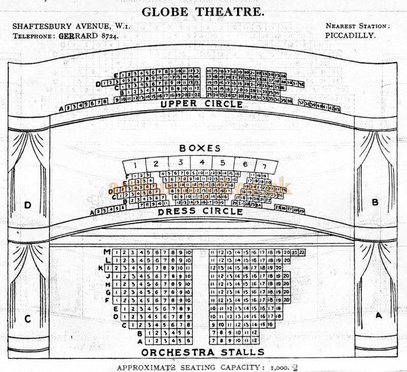 A Seating Plan for the Globe Theatre - From 'Who's Who in the Theatre' published in 1930 - Courtesy Martin Clark. Click to see more Seating Plans from this publication.