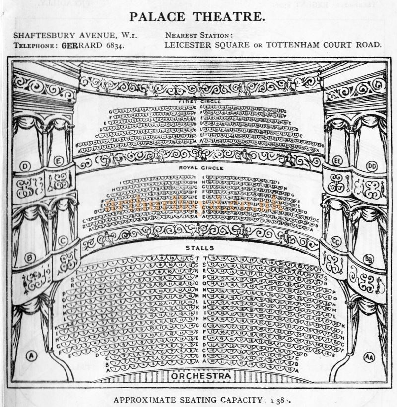 A Seating Plan for the Palace Theatre - From 'Who's Who in the Theatre' published in 1930 - Courtesy Martin Clark. Click to see more Seating Plans from this publication.