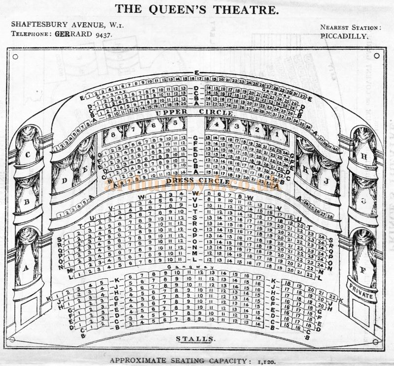A Seating Plan for the Queen's Theatre - From 'Who's Who in the Theatre' published in 1930 - Courtesy Martin Clark. Click to see more Seating Plans from this publication.