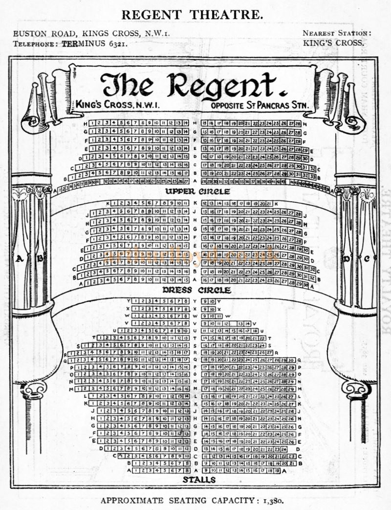 A Seating Plan for the Regent Theatre - From 'Who's Who in the Theatre' published in 1930 - Courtesy Martin Clark. Click to see more Seating Plans from this publication.