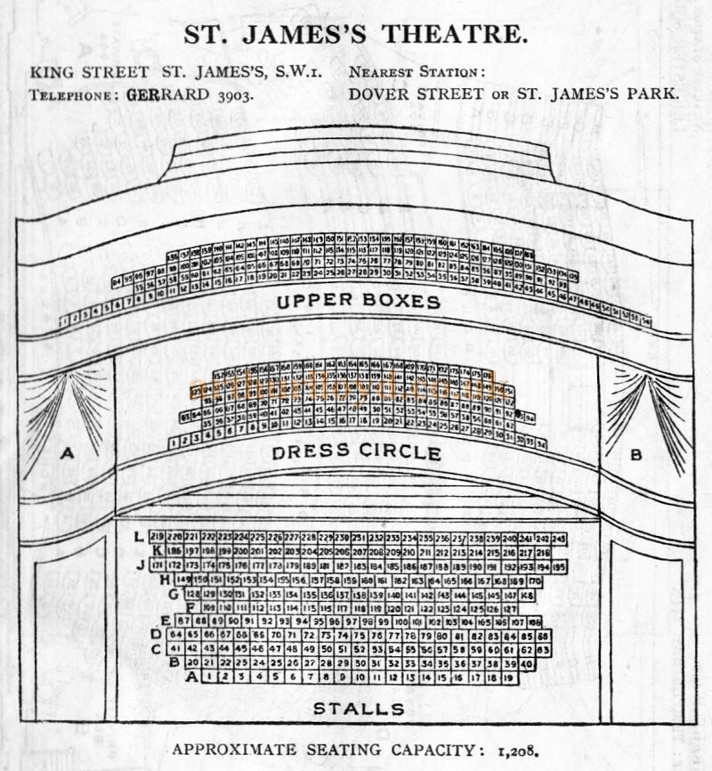 A Seating Plan for the St. James's Theatre - From 'Who's Who in the Theatre' published in 1930 - Courtesy Martin Clark. Click to see more Seating Plans from this publication.