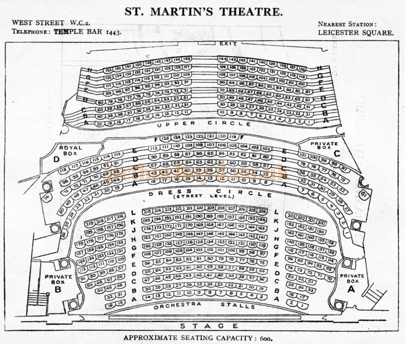 A Seating Plan for the St. Martin's Theatre - From 'Who's Who in the Theatre' published in 1930 - Courtesy Martin Clark. Click to see more Seating Plans from this publication.