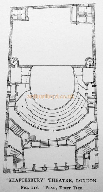 A Plan of the First Tier of the Shaftesbury Theatre - From 'Modern Opera Houses and Theatres' by Edwin O Sachs, Published 1896-1898, and held at the Library of the Technical University (TU) in Delft - Kindly sent in by John Otto.