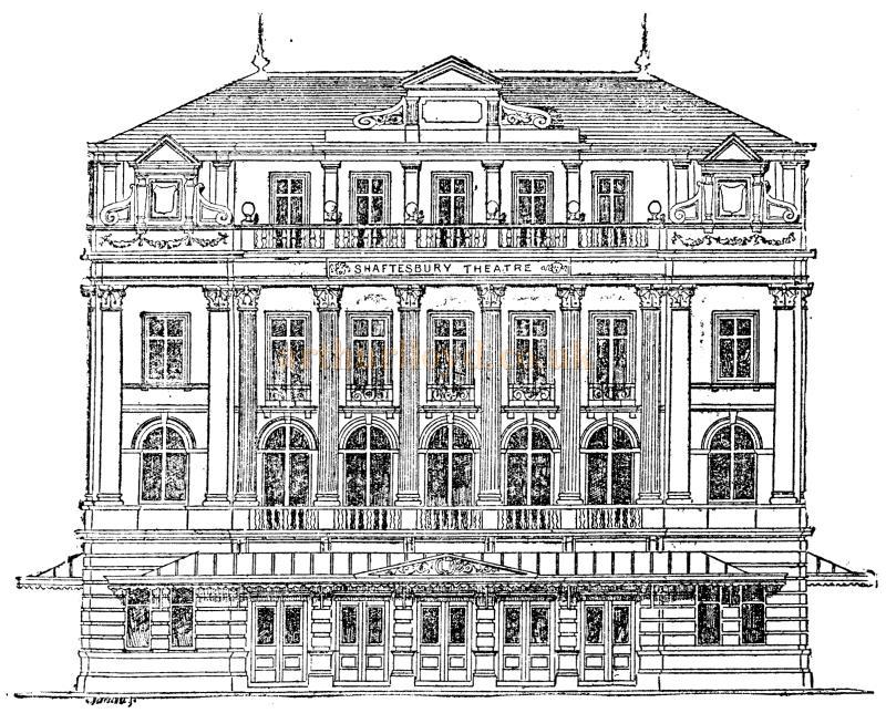 A Sketch of the original Shaftesbury Theatre, London From the Pall Mall Gazette 1888