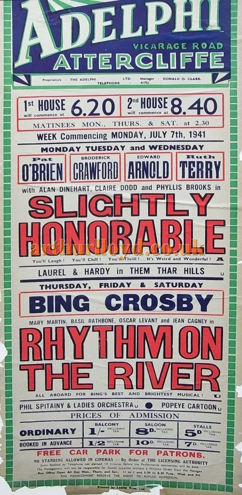 A Poster for the Adelphi Picture Theatre, Sheffield for the week of Monday the 7th of July, 1941 - Courtesy Ian Cowell.