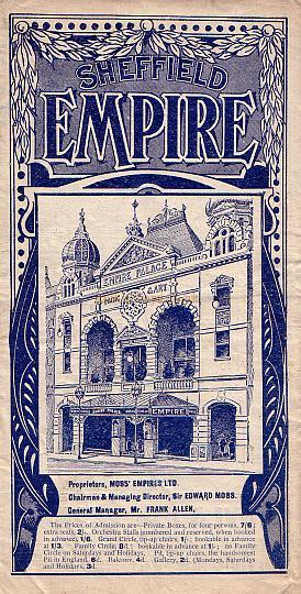Sheffield Empire Programme 1911 - Click for entire Programme