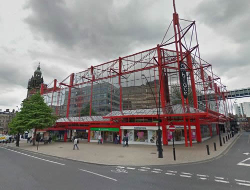 A Google StreetView Image of the site of the former Regent / Gaumont Theatre, Sheffield - Click to Interact.