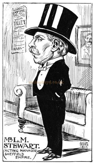 A caricature sketch of Mr Leo Matthew Stewart, one time Acting Manager of the Sheffield Empire - Courtesy Chris Bond