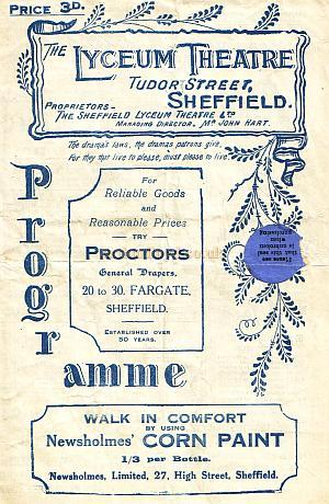 Programme for 'Charley's Aunt' at the Lyceum Theatre, Sheffield for the week beginning Monday the 14th of November 1921.