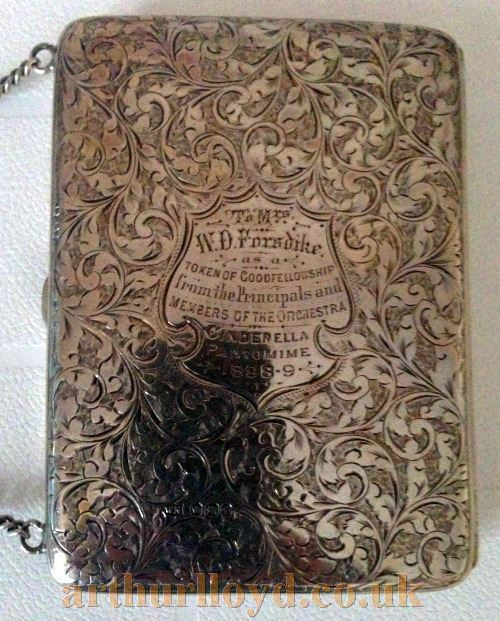 A Silver Dance Purse or Necessaire with an engraved inscription to Mrs W. D. Forsdike, wife of William David Forsdike, proprietor of the Alexandra Theatre, Sheffield in the 1890s - Courtesy Kevin Woodward.