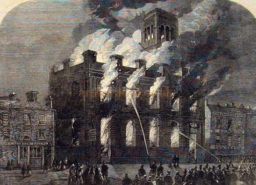 The Surrey Theatre on fire - From The Illustrated London News of 1865.