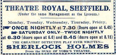 Advertisement for 'Sherlock Holmes' at the Theatre Royal, Sheffield in November 1921 - From a Lyceum Theatre Sheffield Programme.
