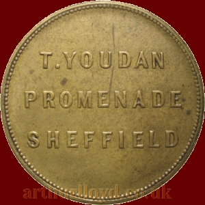An Entrance Token for Thomas Youdan's Royal Casino, Sheffield, sometimes referred to by Youdan himself as a 'Promenade Concert Hall' - Kindly sent in by Paul Withers.