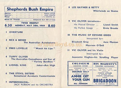Programme details for Variety show at the Shepherds Bush Empire May 30th 1949
