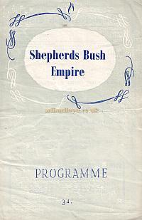 Programme for Variety show at the Shepherds Bush Empire Nov 24th 1952