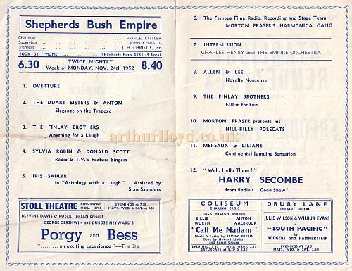 Programme details for Variety show at the Shepherd's Bush Empire Nov 24th 1952.