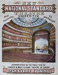 A poster for The National Standard Theatre with image of the auditorium in 1867. From courtesy PeoplePlay UK.